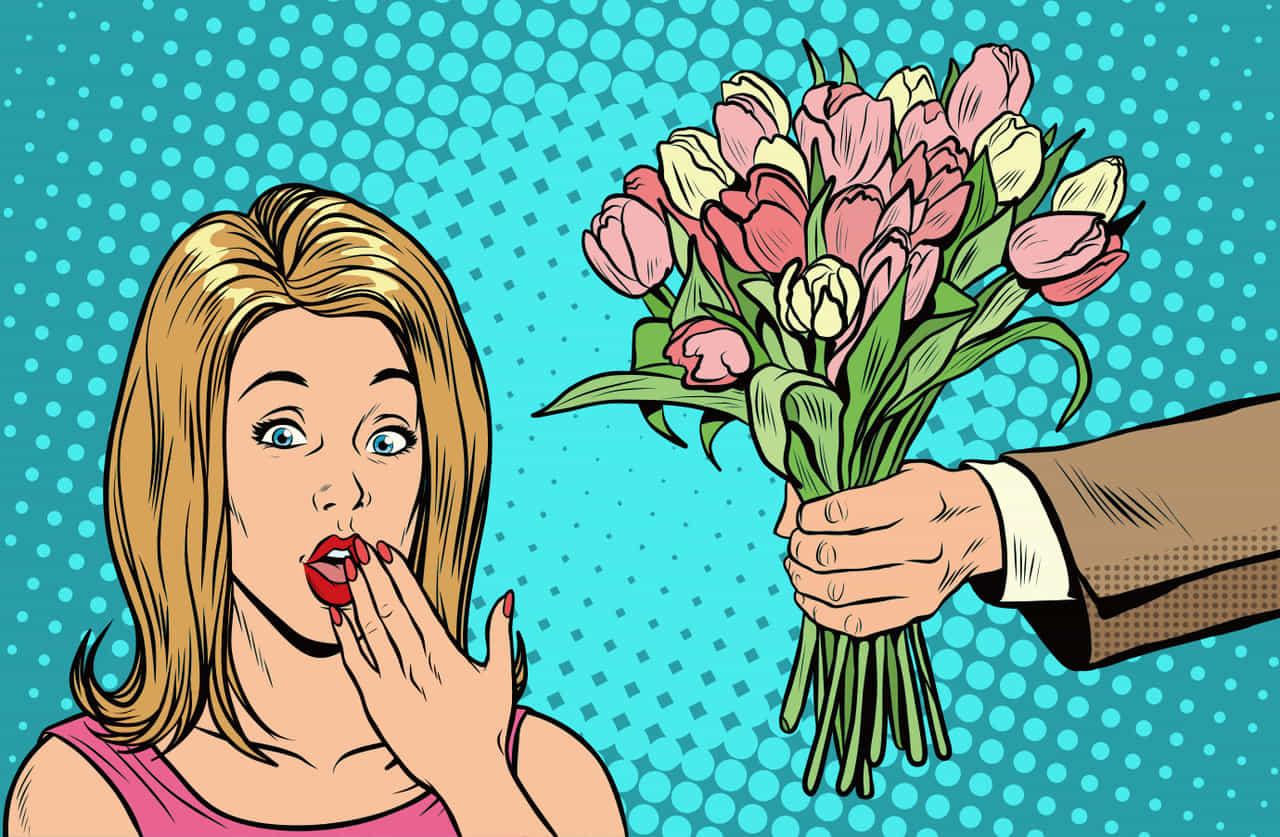 女性に求愛するため花束を渡す男性と花束をもらって驚く女性