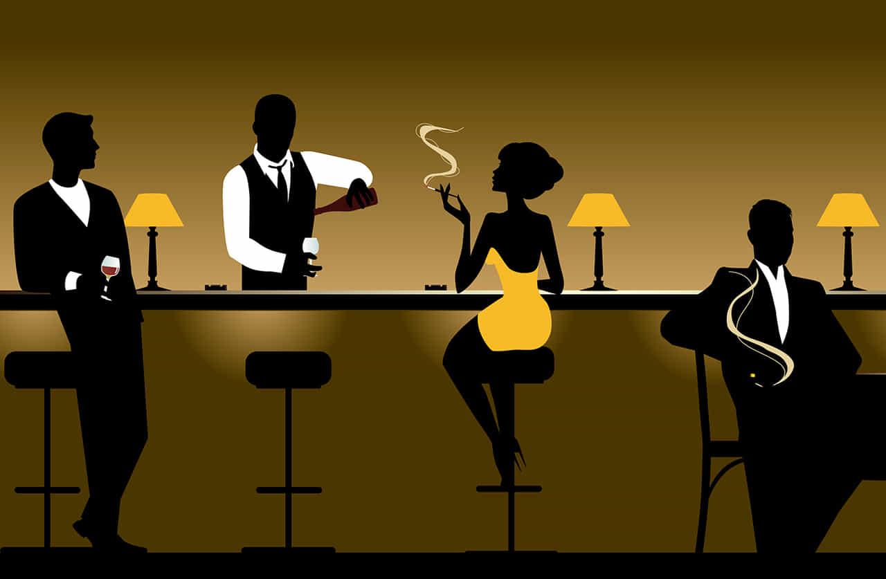 バーテンダーと男女の客のイラストレーション