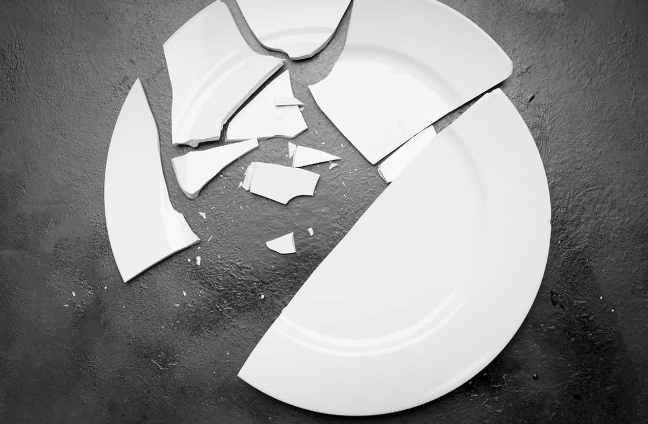 床に落とされ割れた白い皿