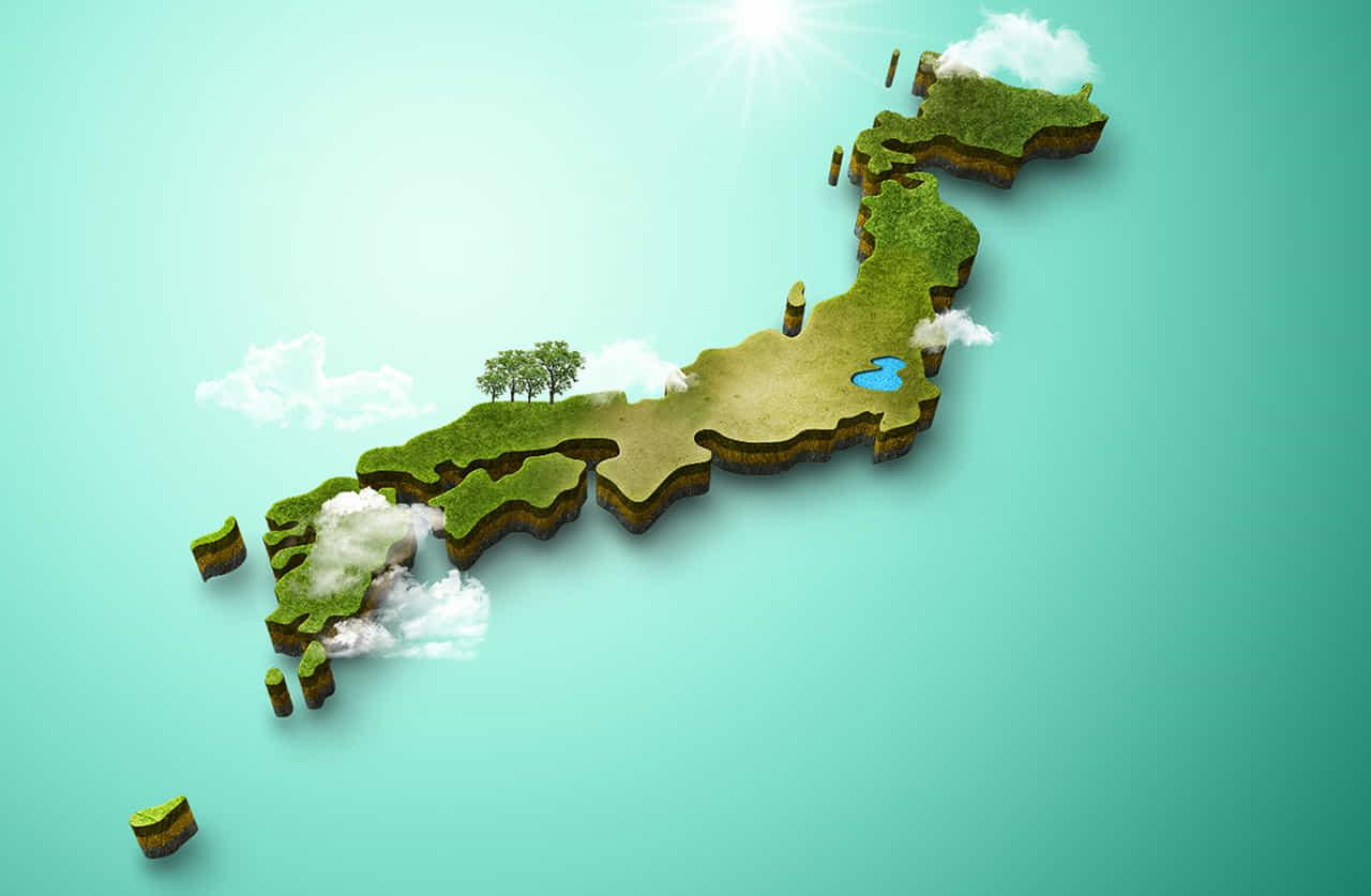 グリーン立体で出来た日本地図