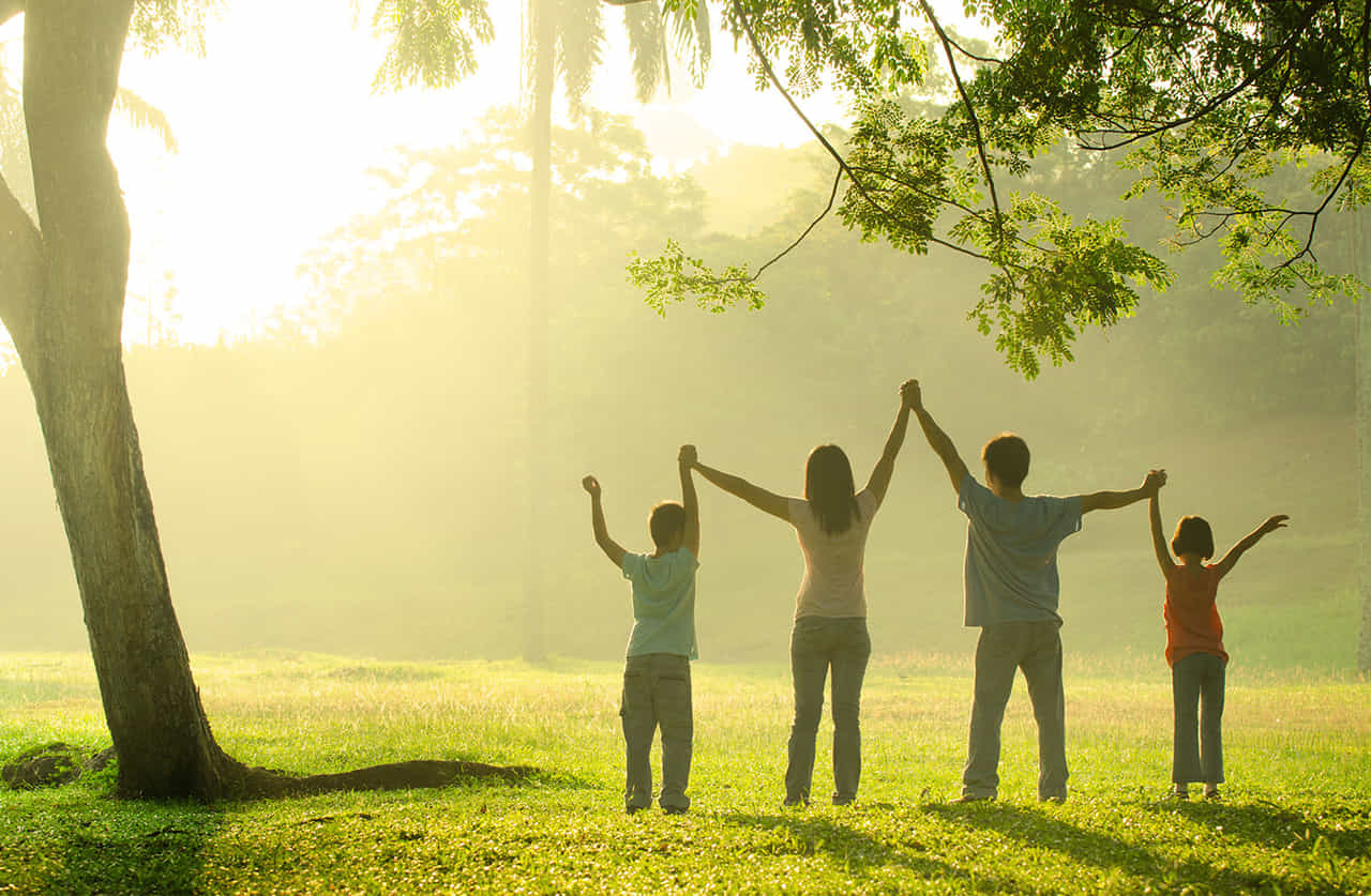 朝の公園で仲良く手をつなぎのびのびしている4人家族