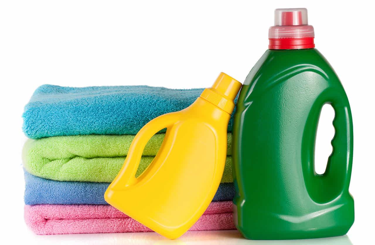 選択されたタオルと洗剤、柔軟剤