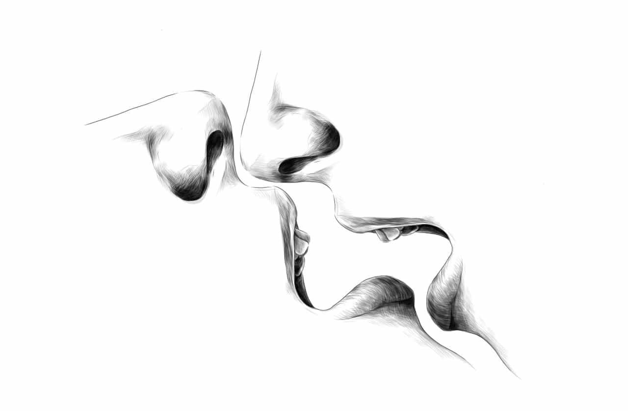 男女がキスをする寸前。唇と唇