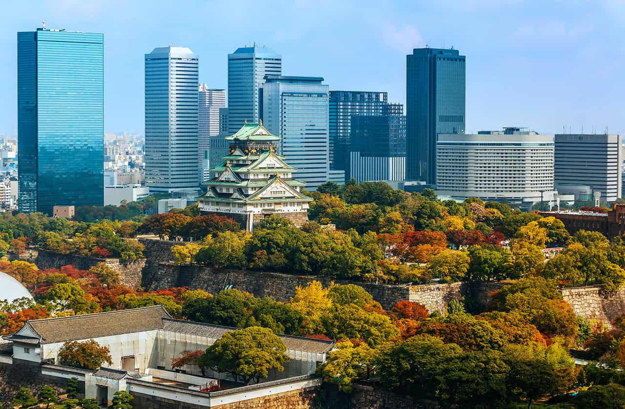 大阪城を含むランドスケープ