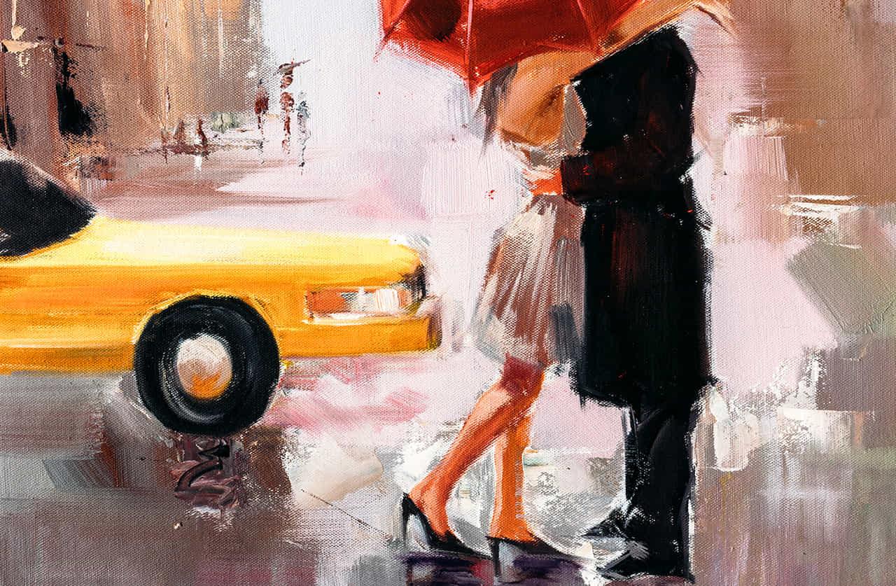 雨の中キスをするカップルの絵画