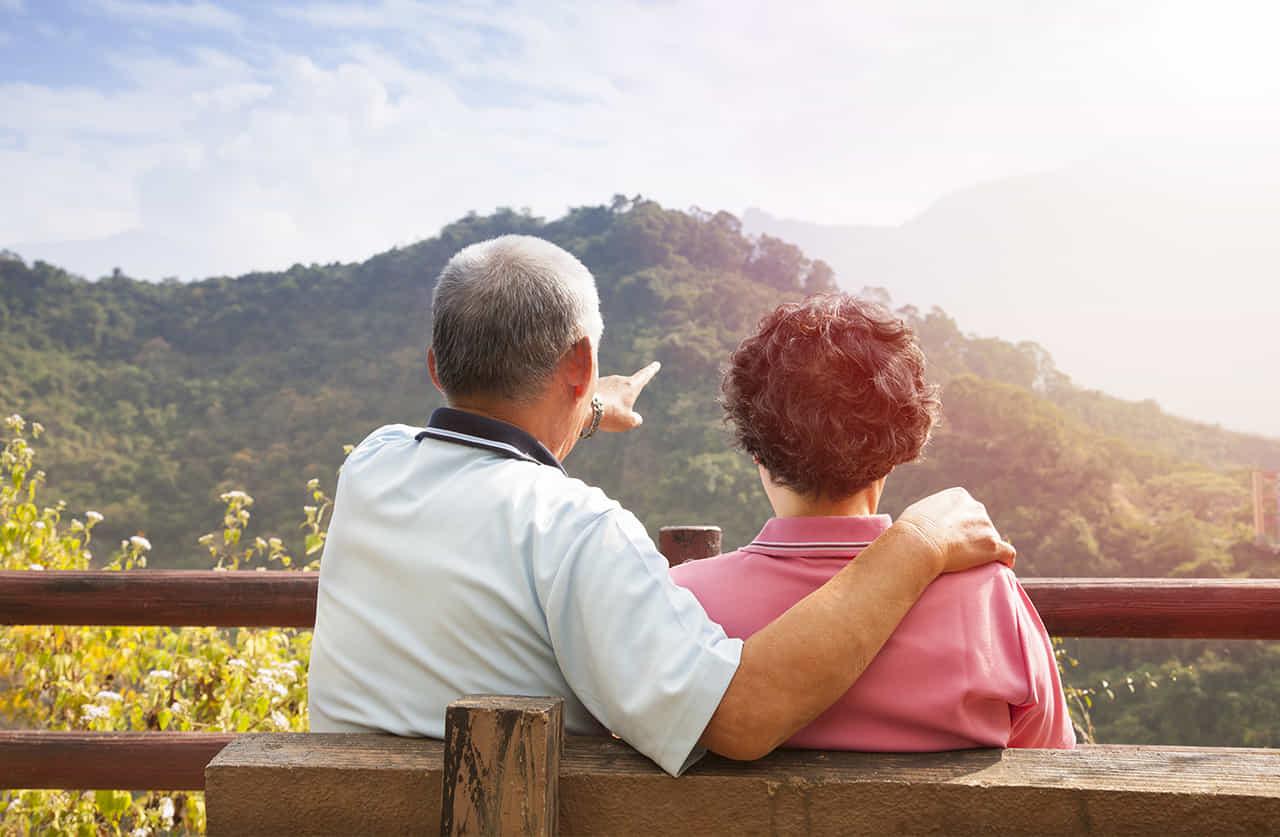 人生の様々な場面をともに乗り越えた老夫婦が寄り添って座り、その先を指差してともに眺める様
