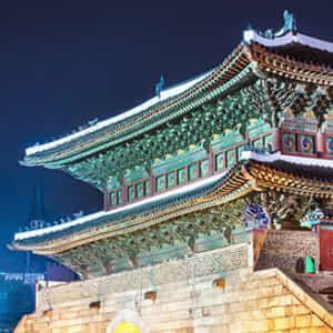 ライトアップされたソウルの南大門