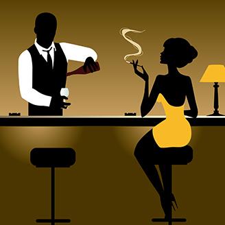 バーテンダーと女の客のイラストレーション